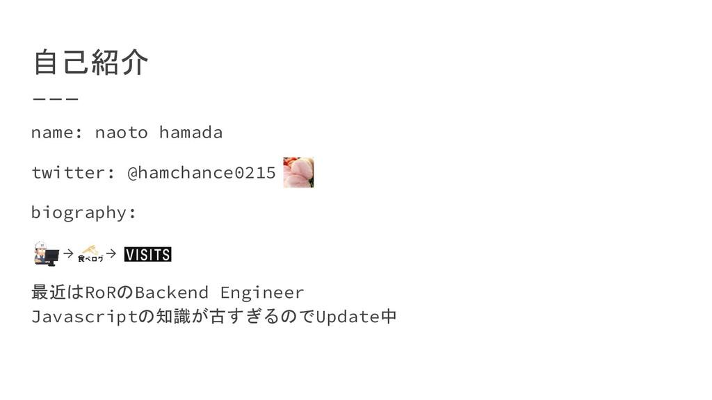 自己紹介 name: naoto hamada twitter: @hamchance0215...