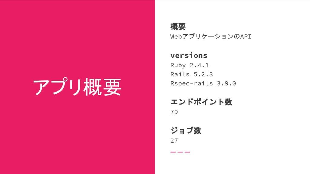 アプリ概要 概要 WebアプリケーションのAPI versions Ruby 2.4.1 Ra...