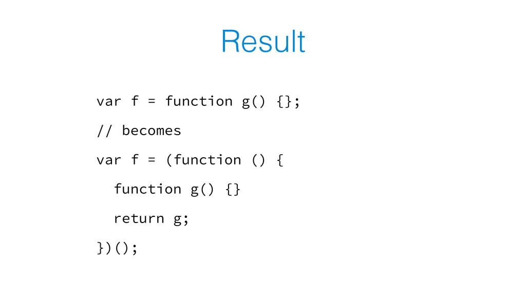 Result var f = function g() {}; // becomes var ...
