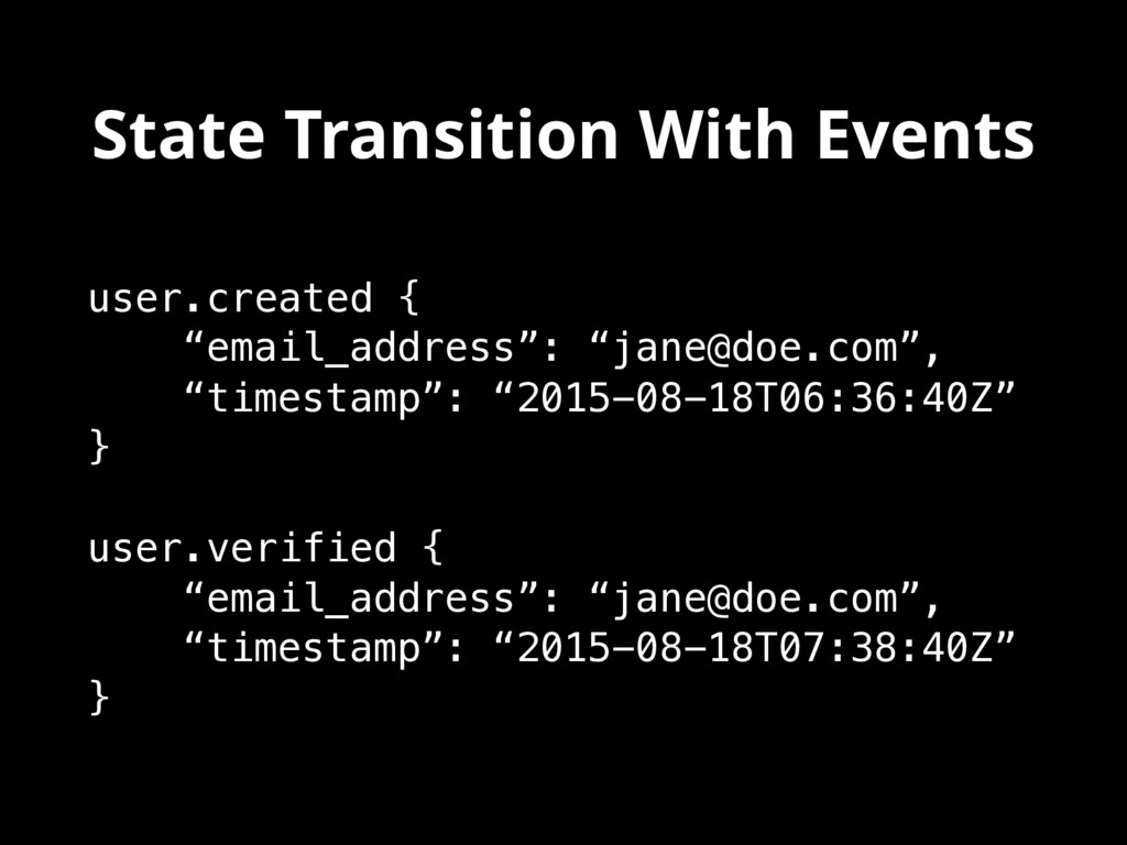 """State Transition With Events user.created { """"em..."""