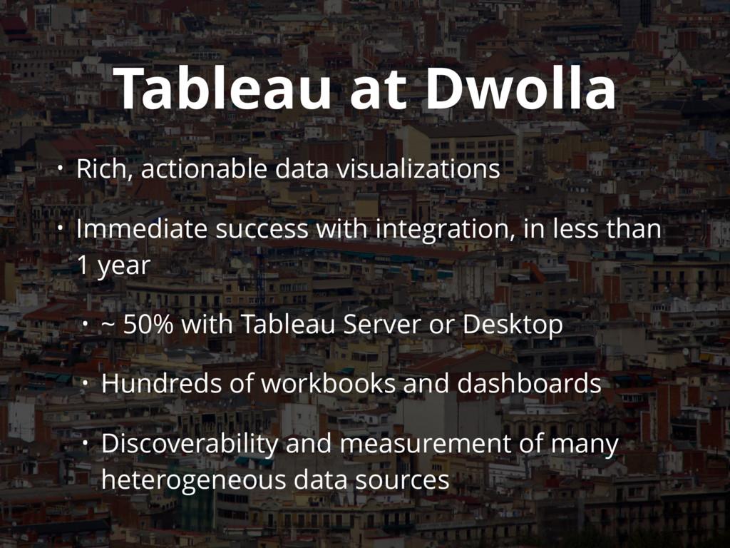 Tableau at Dwolla • Rich, actionable data visua...