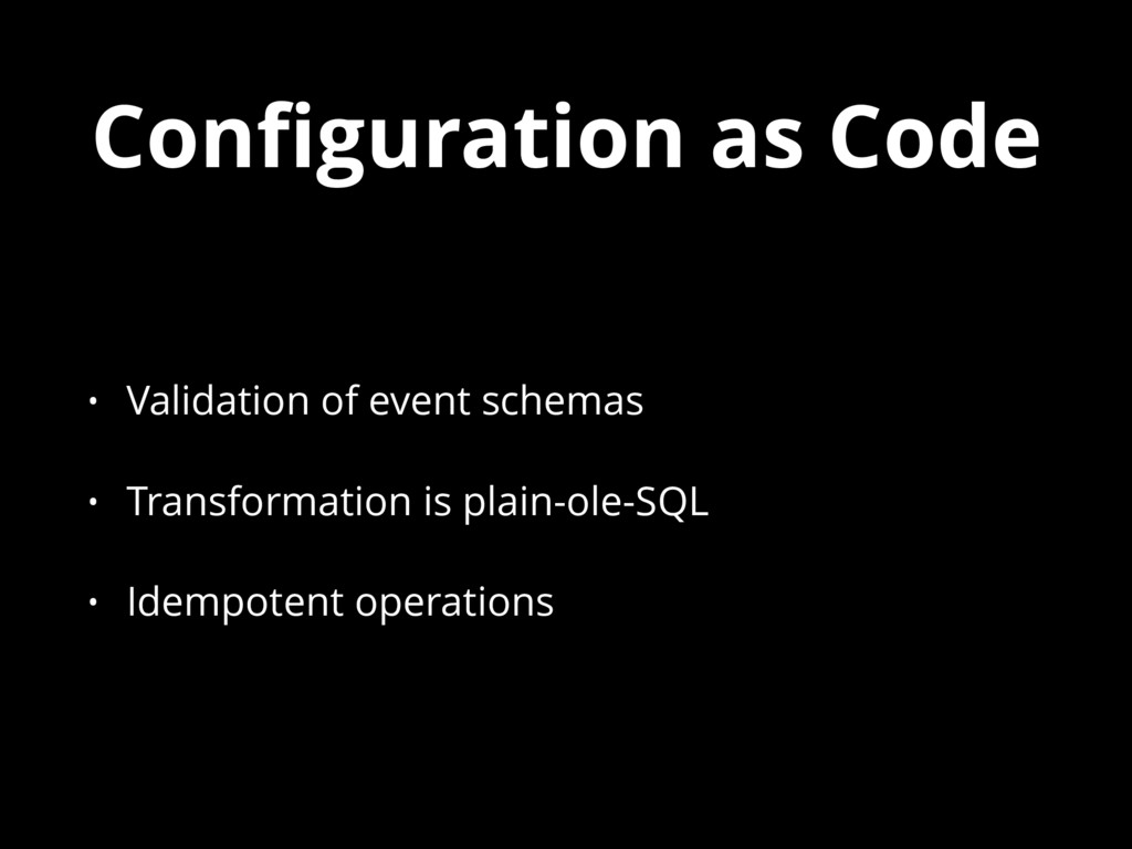 Configuration as Code • Validation of event sche...