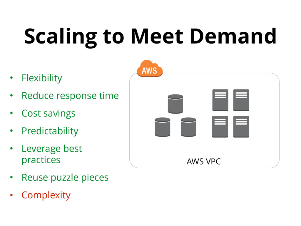 Scaling to Meet Demand AWS VPC • Flexibility • ...
