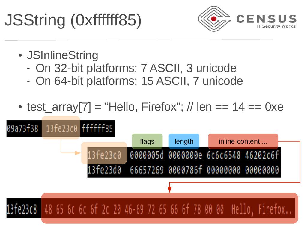 JSString (0xffffff85) ● JSInlineString - On 32-...