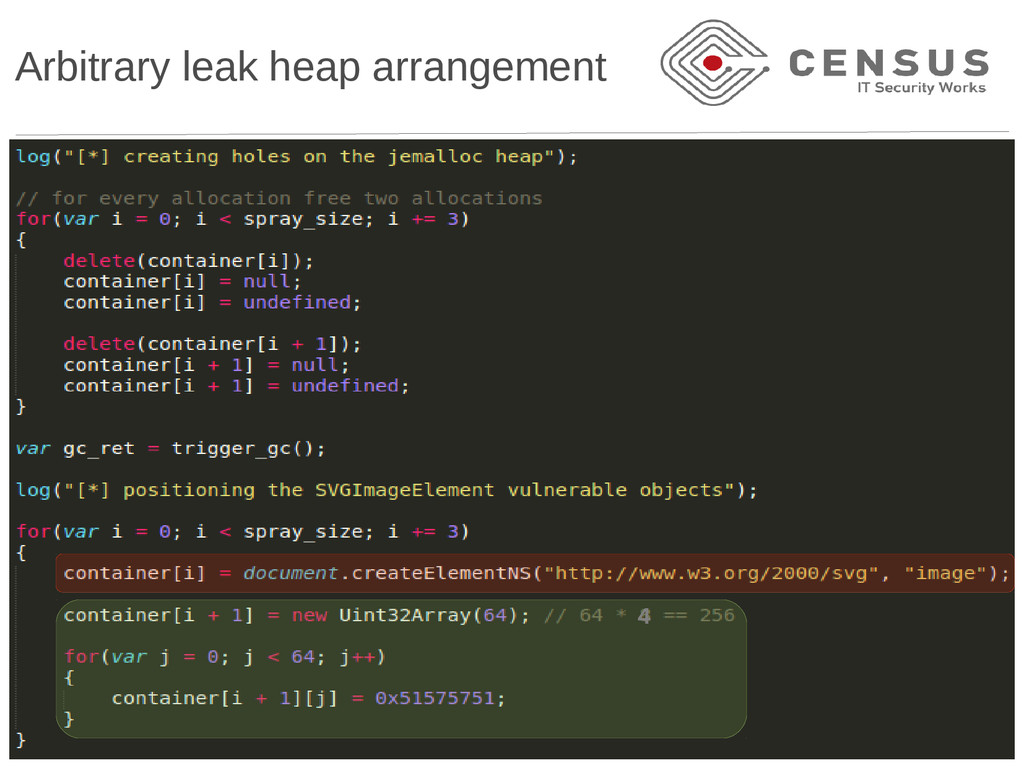 Arbitrary leak heap arrangement 4