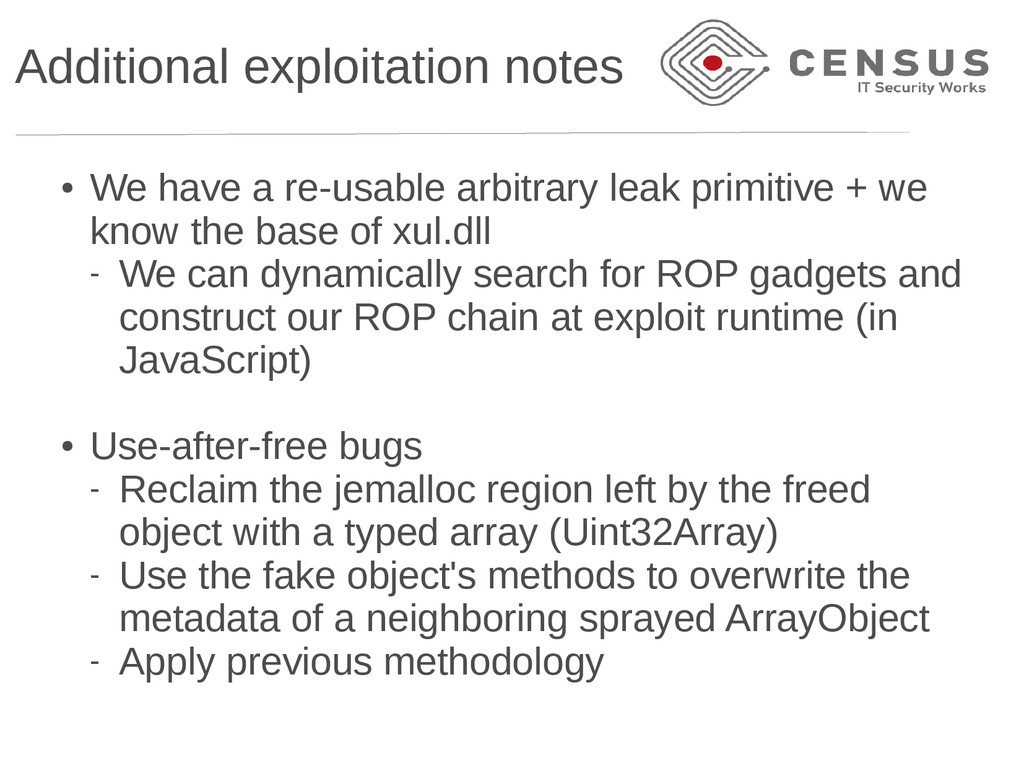 Additional exploitation notes ● We have a re-us...