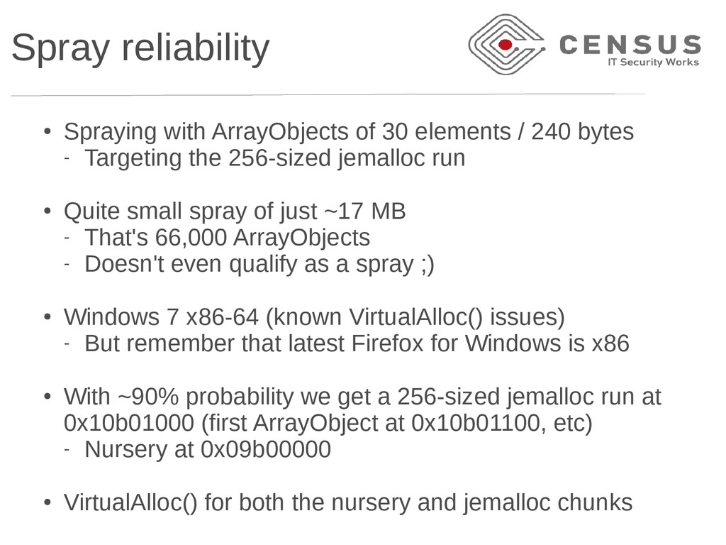 Spray reliability ● Spraying with ArrayObjects ...