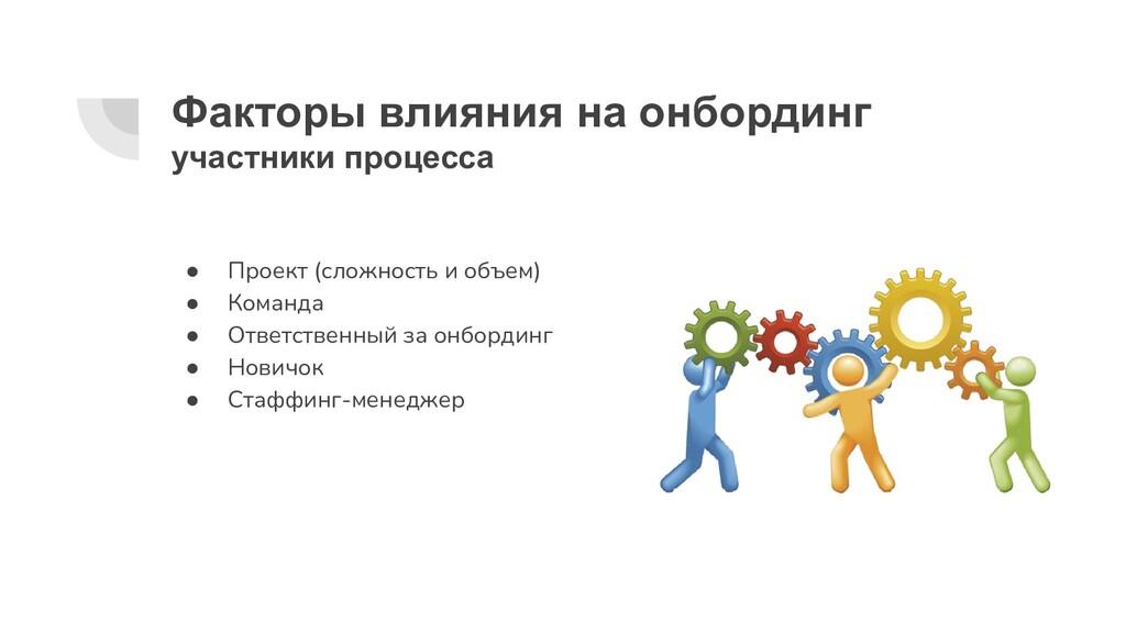 Факторы влияния на онбординг участники процесса...