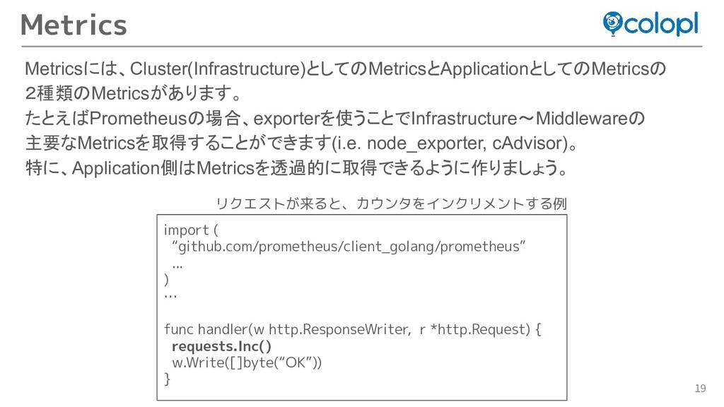 19 Metricsには、Cluster(Infrastructure)としてのMetrics...