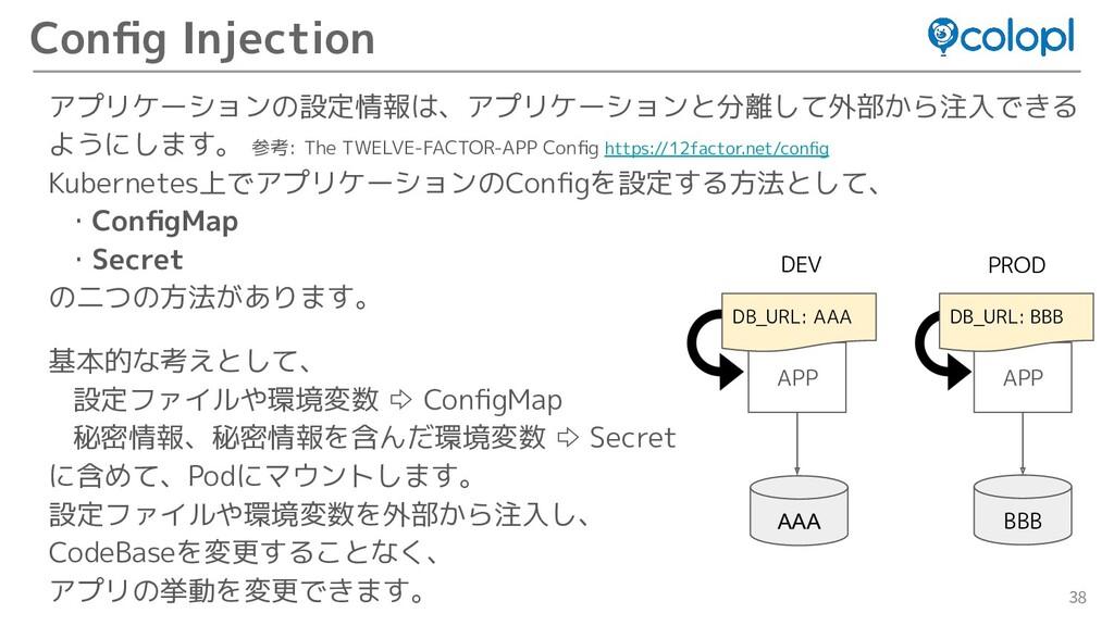 38 アプリケーションの設定情報は、アプリケーションと分離して外部から注入できる ようにします...