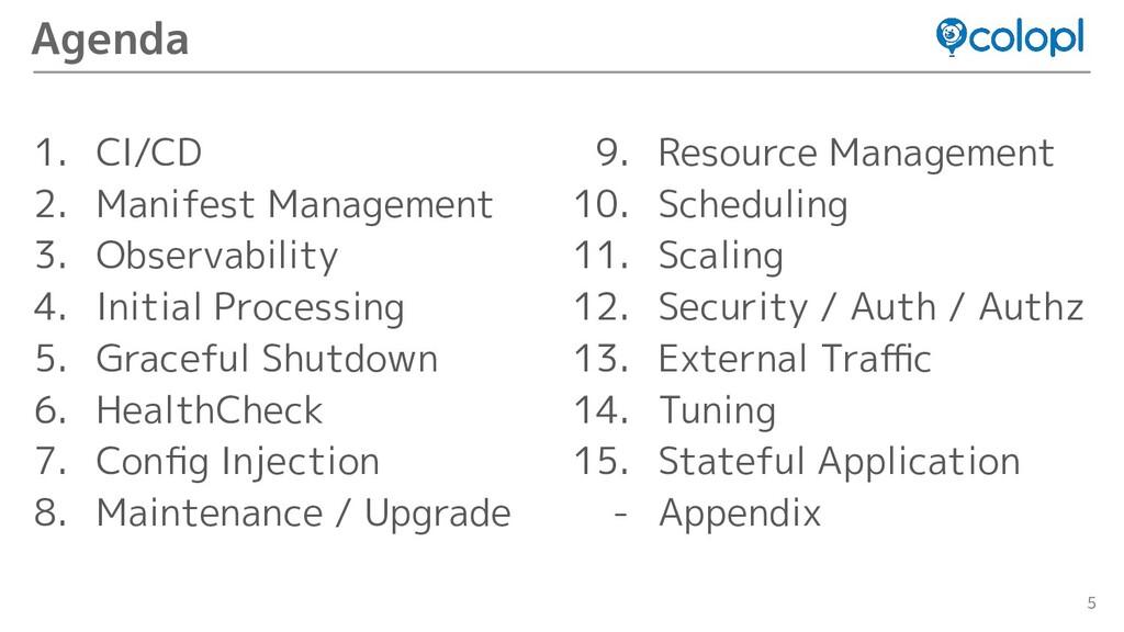 5 1. CI/CD 2. Manifest Management 3. Observabil...