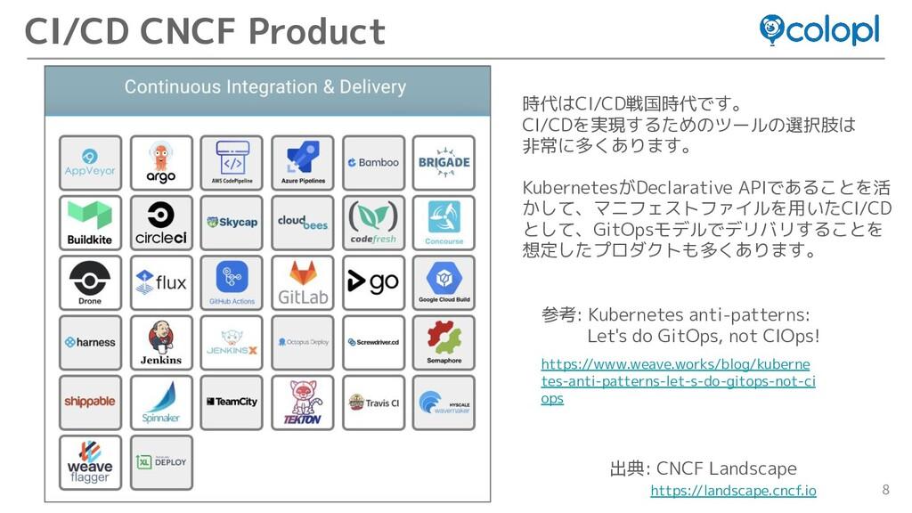 8 CI/CD CNCF Product 出典: CNCF Landscape https:/...