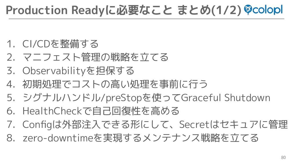 80 Production Readyに必要なこと まとめ(1/2) 1. CI/CDを整備す...