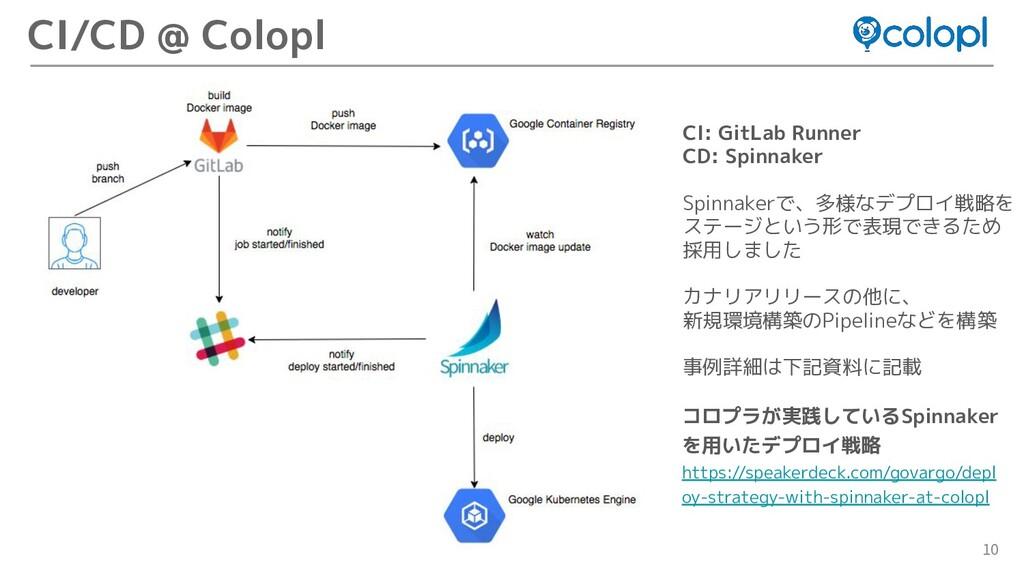 10 CI/CD @ Colopl CI: GitLab Runner CD: Spinnak...