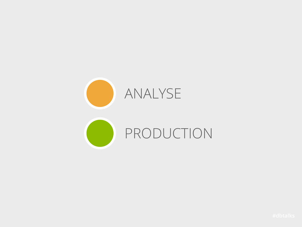 #dbtalks ANALYSE PRODUCTION
