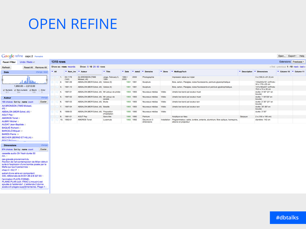 OPEN REFINE #dbtalks