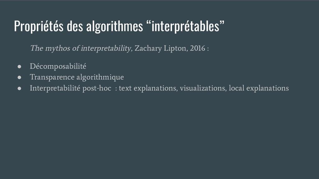 """Propriétés des algorithmes """"interprétables"""" The..."""