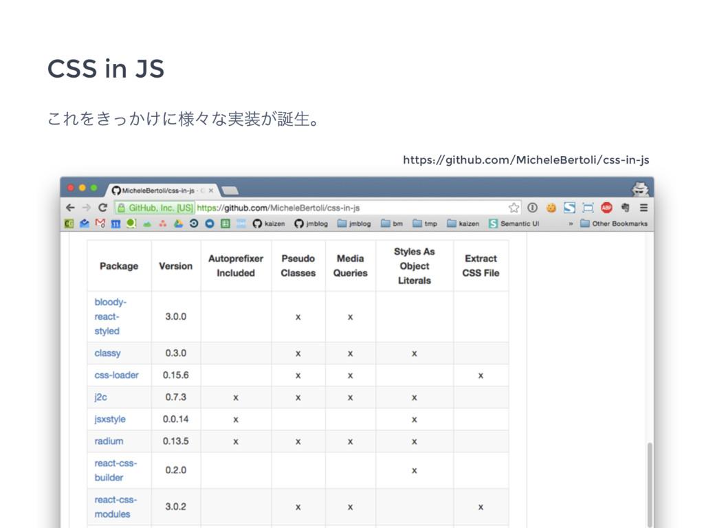 ͜ΕΛ͖͔͚ͬʹ༷ʑͳ࣮͕ੜɻ CSS in JS https:/ /github.com...