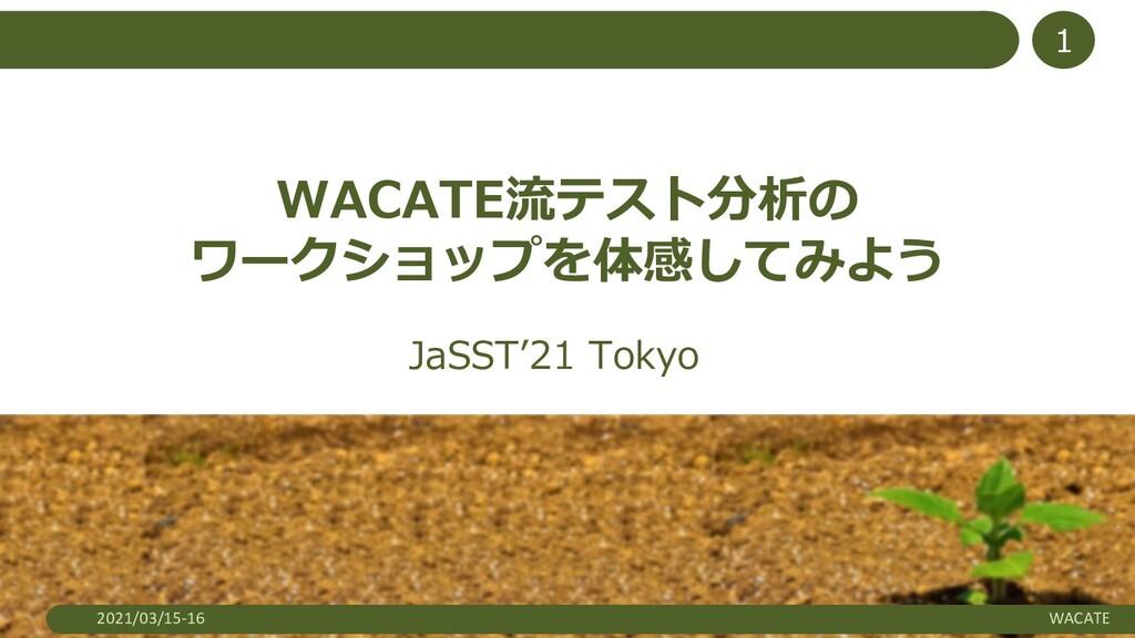 2021/03/15-16 WACATE 1 WACATE流テスト分析の ワークショップを体感...