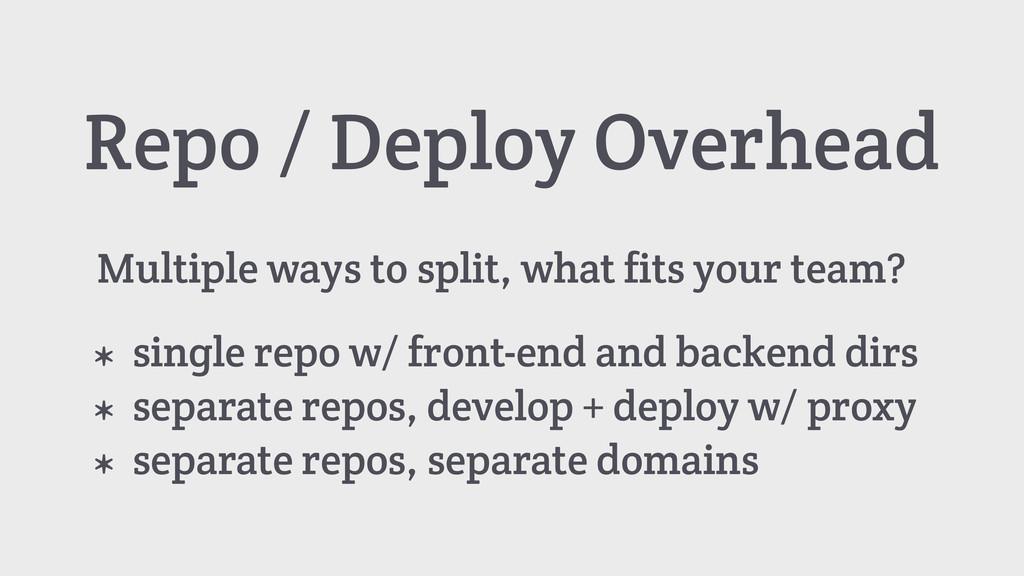 Repo / Deploy Overhead * single repo w/ front-e...