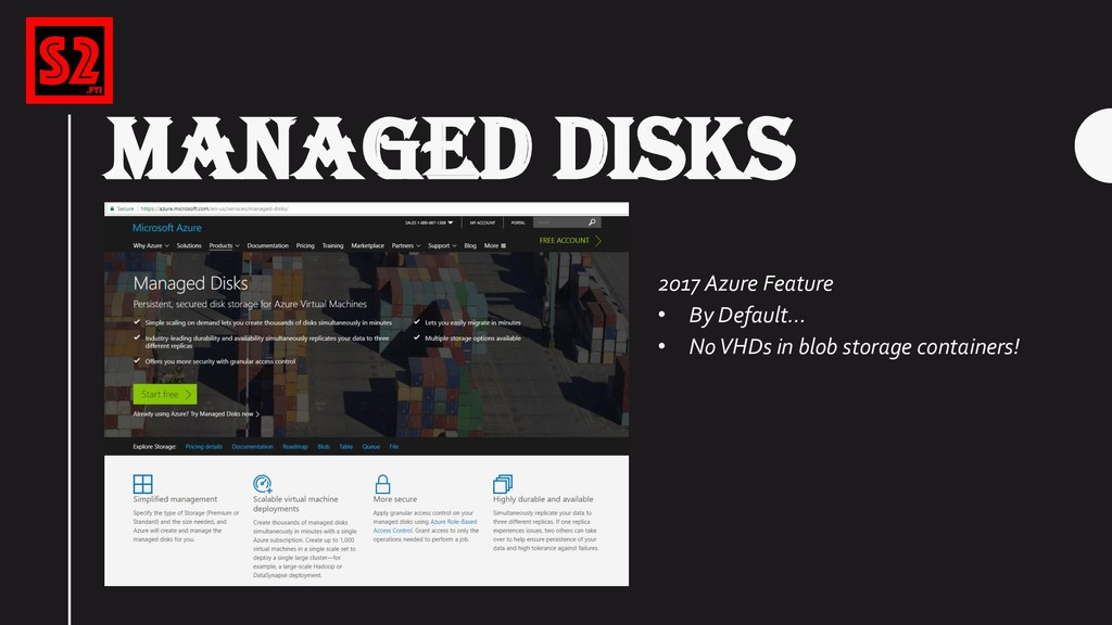 MANAGED DISKS 2017 Azure Feature • By Default… ...