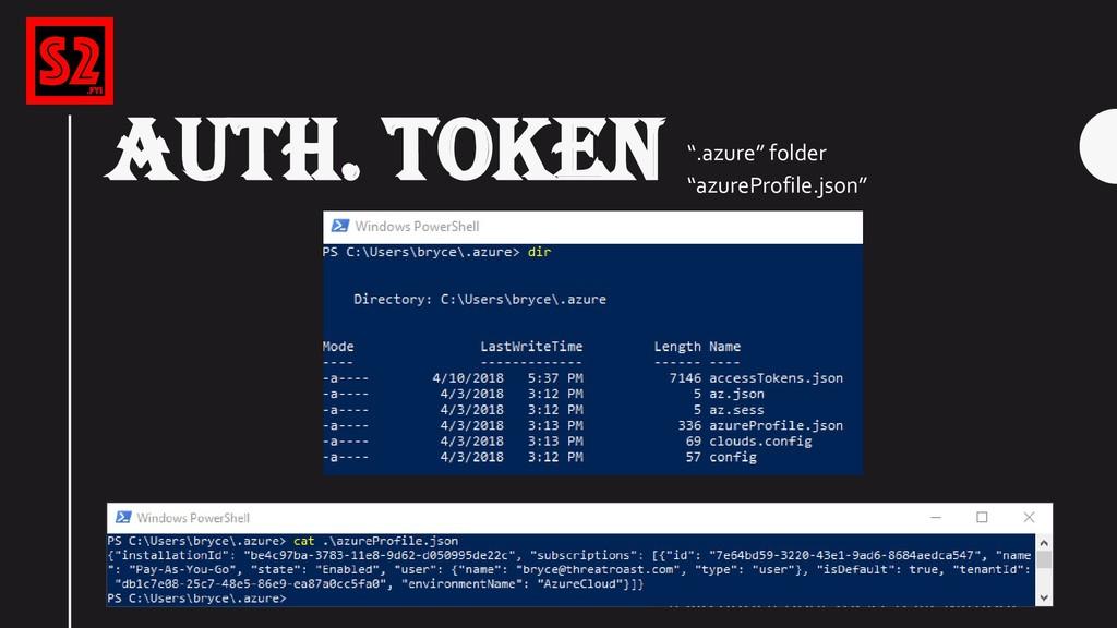 "AUTH. TOKEN "".azure"" folder ""azureProfile.json"""
