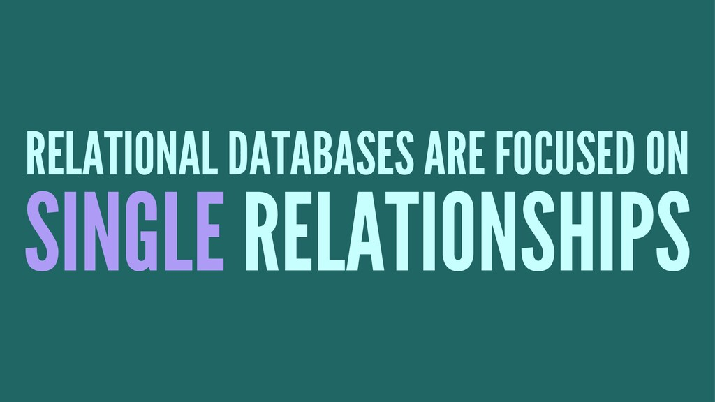 RELATIONAL DATABASES ARE FOCUSED ON SINGLE RELA...