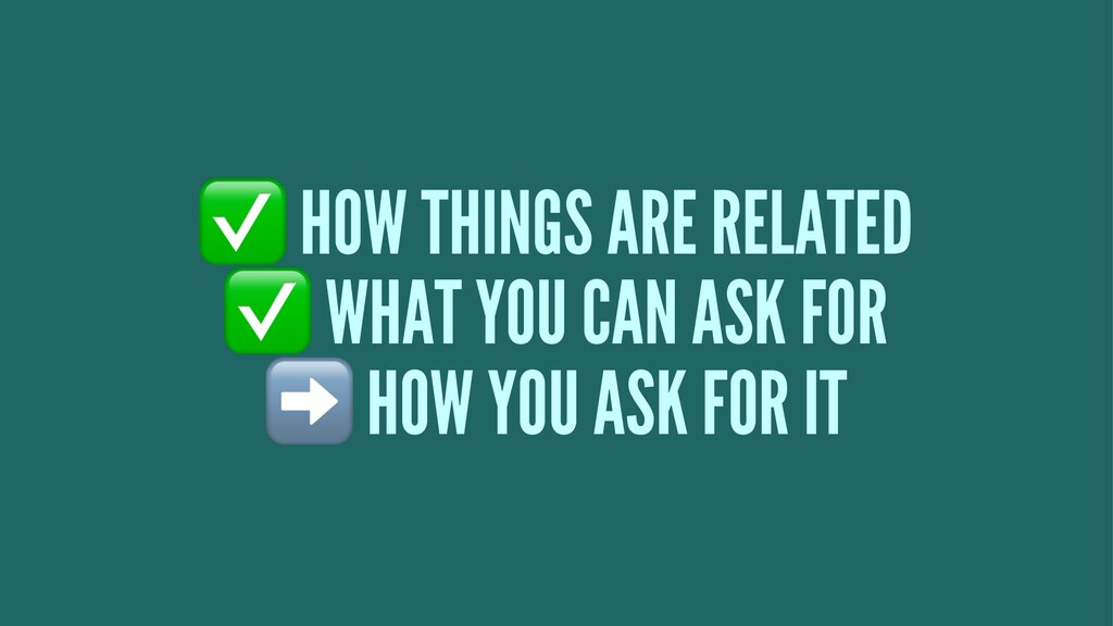 ✅ HOW THINGS ARE RELATED ✅ WHAT YOU CAN ASK FOR...