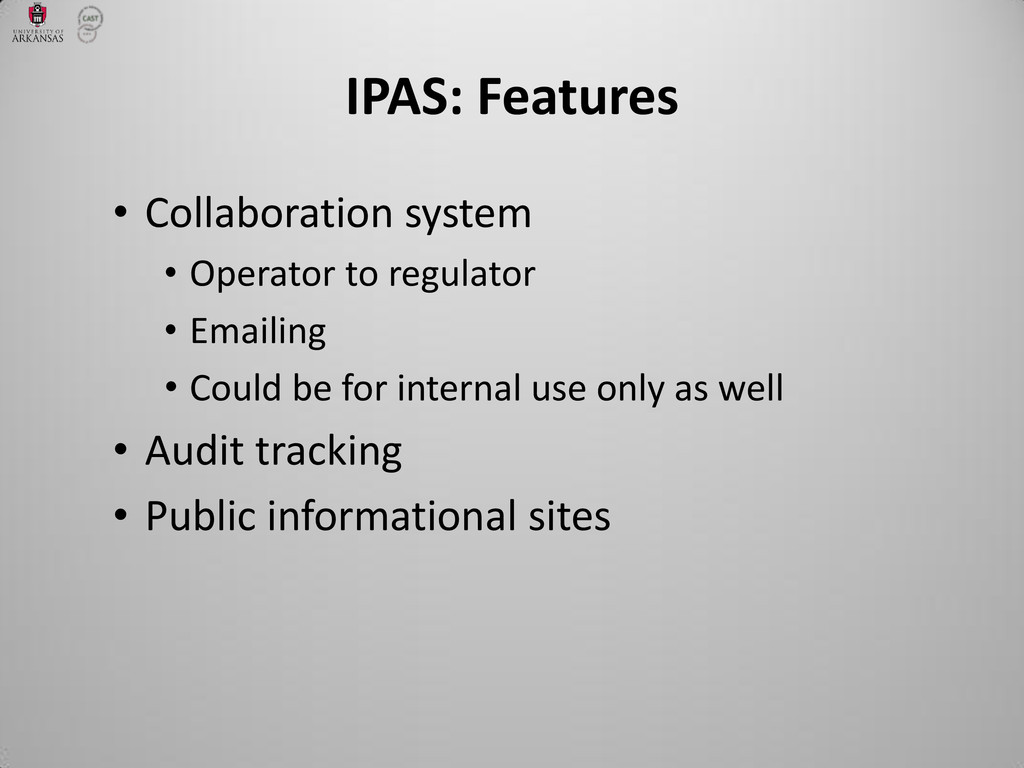 • Collaboration system • Operator to regulator ...