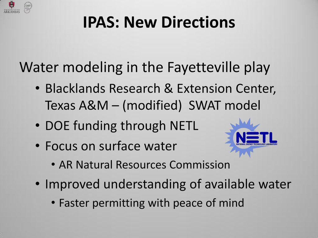 IPAS: New Directions Water modeling in the Faye...