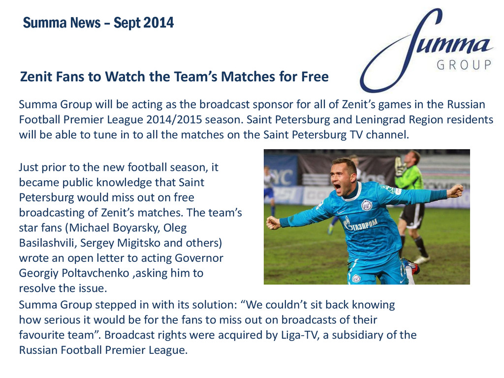 Zenit Fans to Watch the Team's Matches for Free...