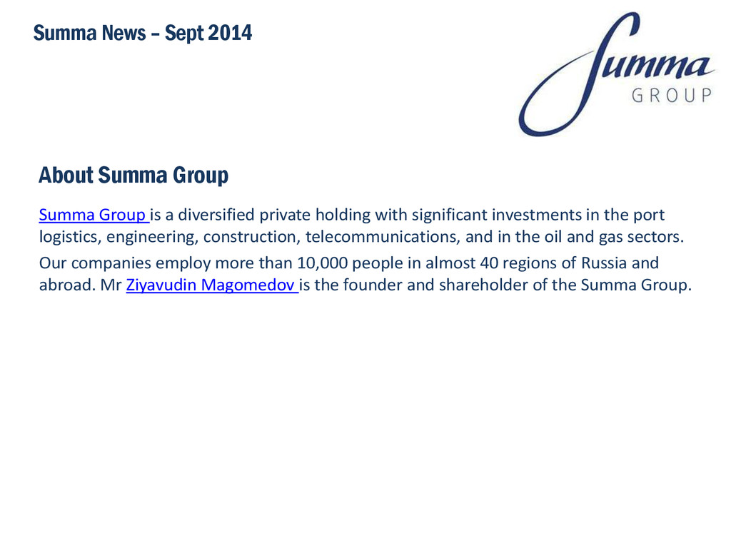 About Summa Group Summa Group is a diversified ...