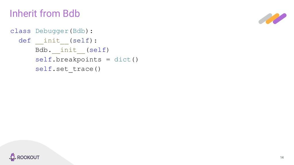 14 Inherit from Bdb class Debugger(Bdb): def __...