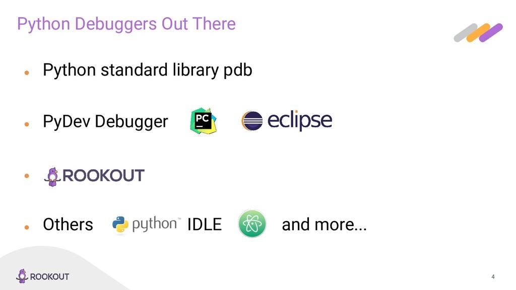 4 ● Python standard library pdb ● PyDev Debugge...