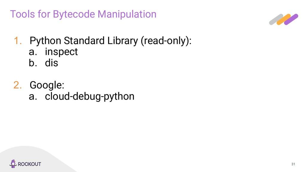 31 Tools for Bytecode Manipulation 1. Python St...