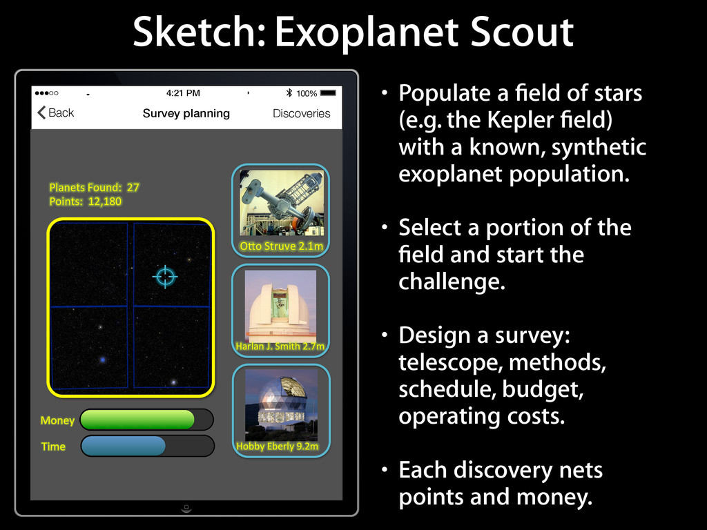 Sketch: Exoplanet Scout 4:21 PM 100% Survey pla...