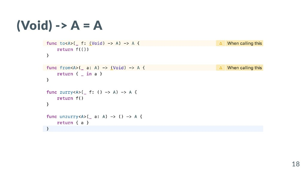 (Void) -> A = A 18