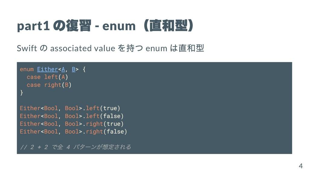 part1 の復習 - enum (直和型) Swift の associated value...