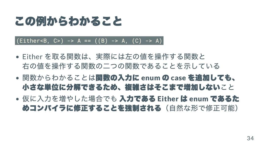 この例からわかること (Either<B, C>) -> A == ((B) -> A, (C...