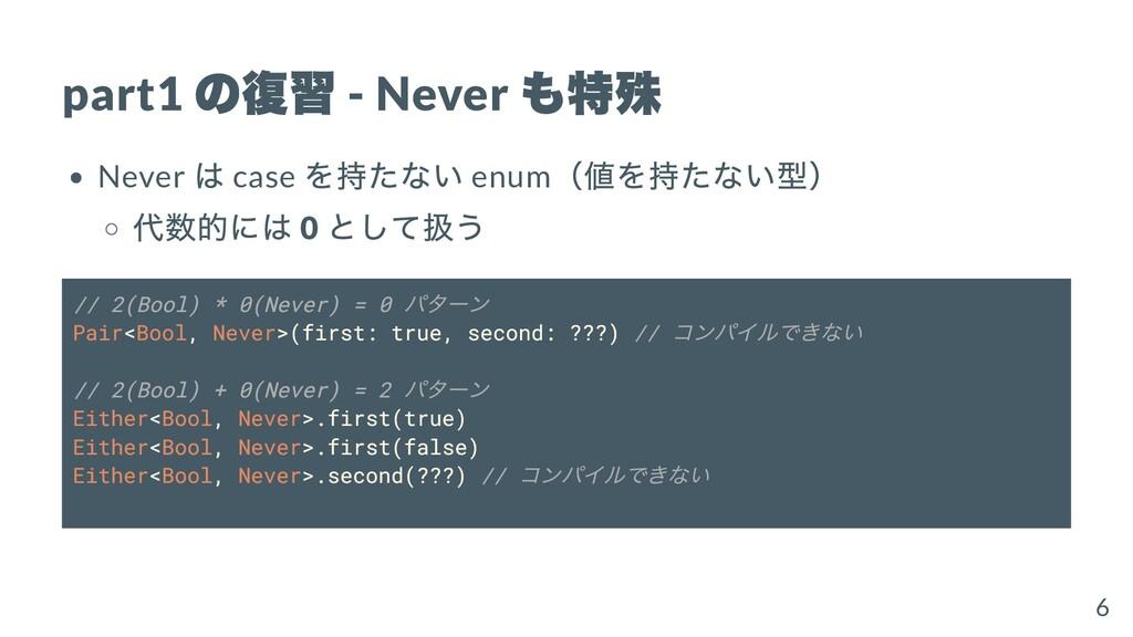 part1 の復習 - Never も特殊 Never は case を持たない enum (...
