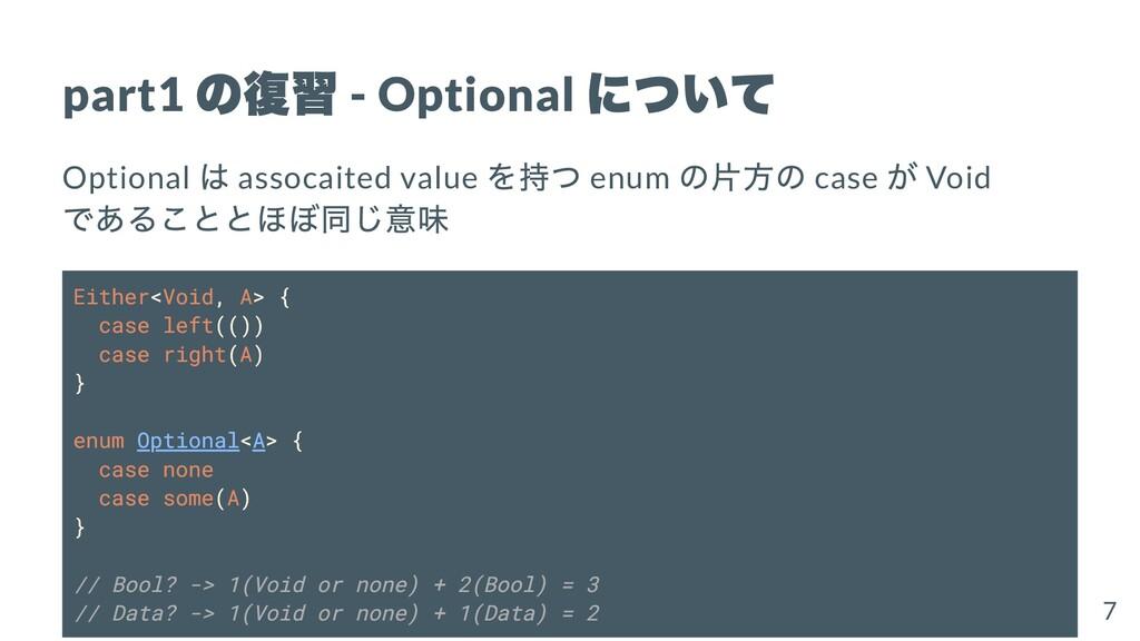 part1 の復習 - Optional について Optional は assocaited...