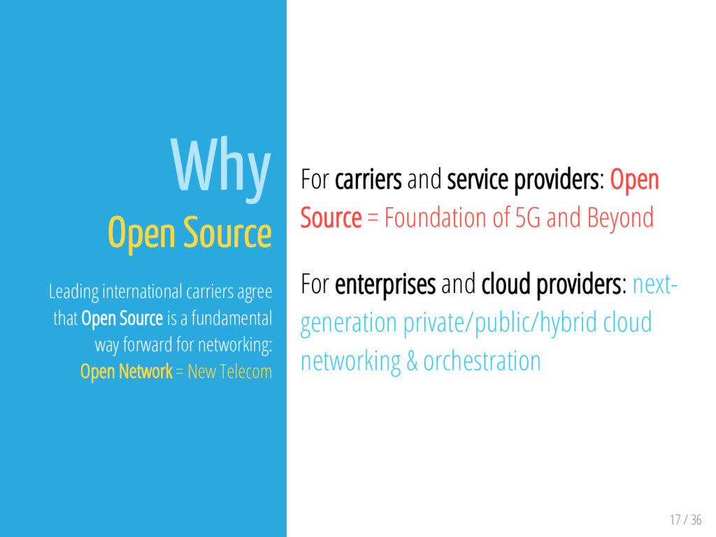 17 / 36 Why Open Source Leading international c...