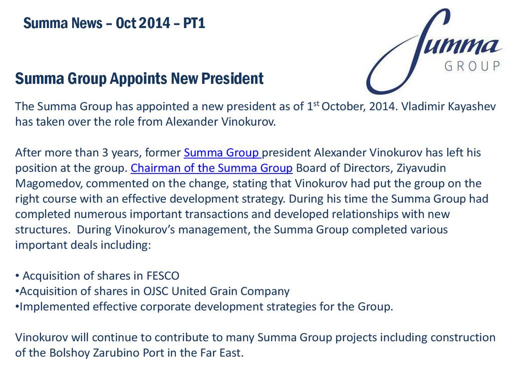 Summa Group Appoints New President Summa News –...