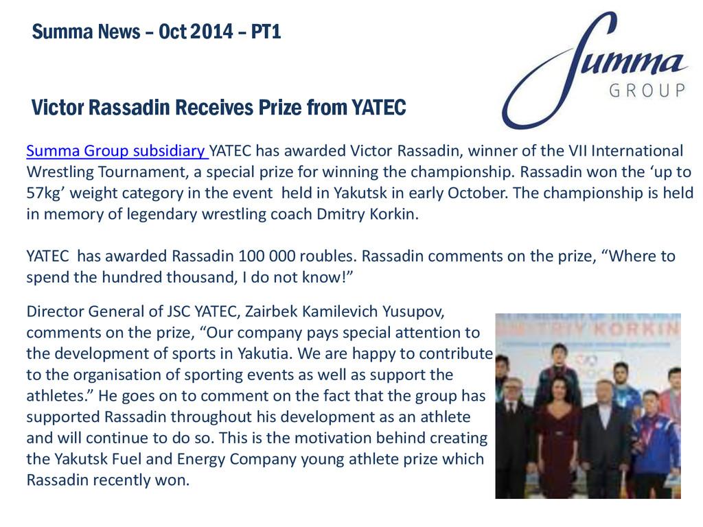 Victor Rassadin Receives Prize from YATEC Summa...