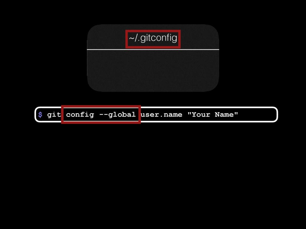 "$ user.name ""Your Name"" config --global git ~/...."