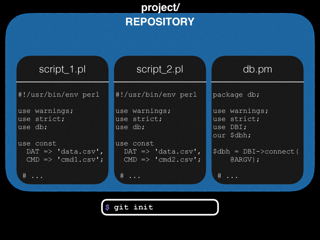 project/ REPOSITORY script_1.pl script_2.pl db....