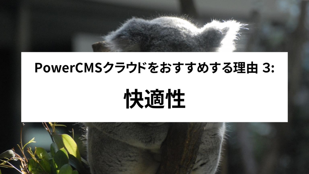 PowerCMSクラウドをおすすめする理由 3: 快適性