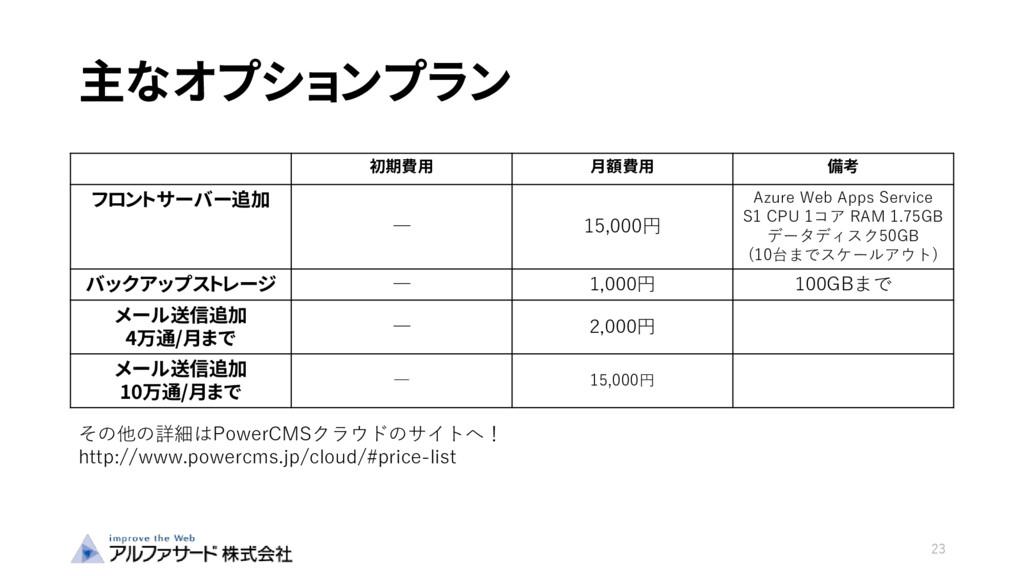 主なオプションプラン 23 初期費用 月額費用 備考 フロントサーバー追加 ― 15,000円...