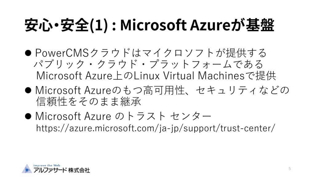 安心・安全(1) : Microsoft Azureが基盤  PowerCMSクラウドはマイ...