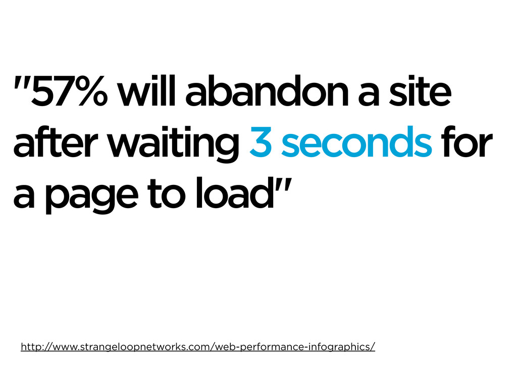 """""""57% will abandon a site after waiting 3 second..."""